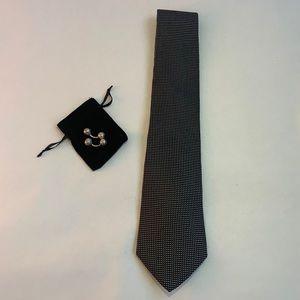 Giorgio Armani black and silver silk tie